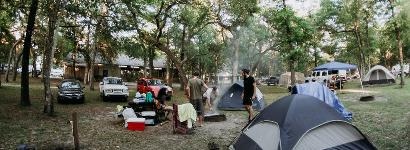 Many people camping at Otter Springs