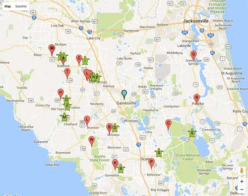 Interactive map locating over 600 Florida springs. Current weather