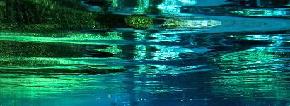 Blue and Green waterway in Blue Springs Park